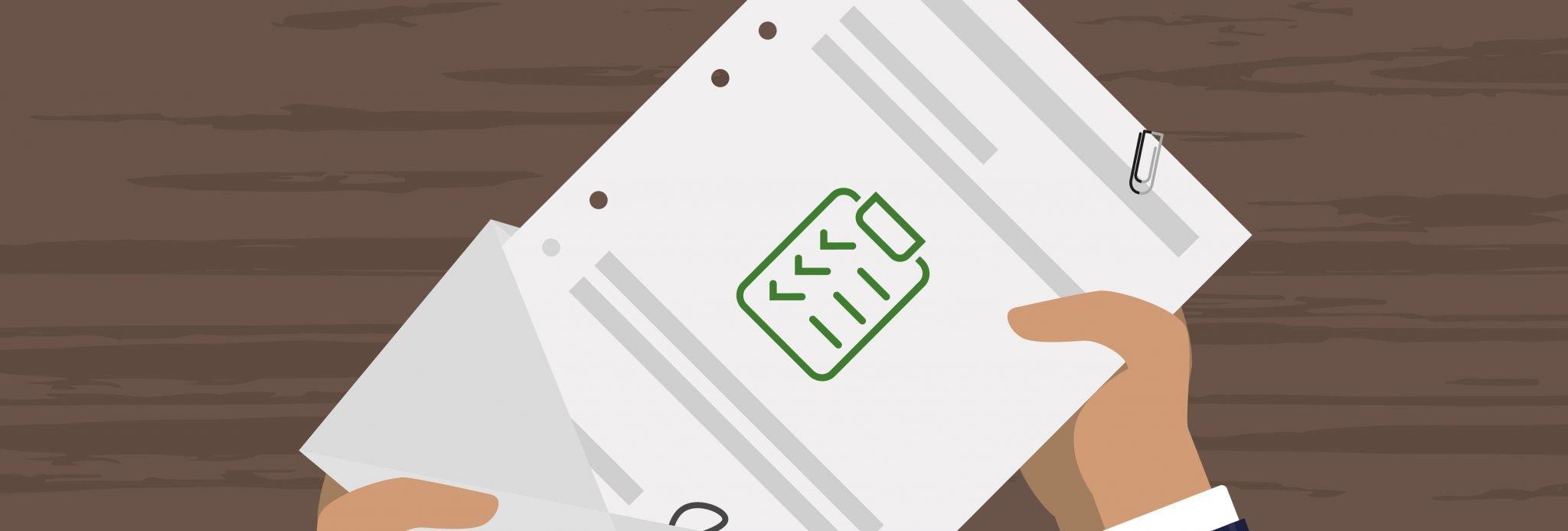 Symbolbild Flat Design: Anschreiben in Briefkuvert