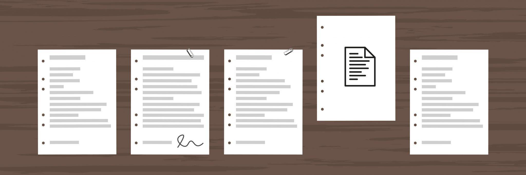Symbolbild Flat Design: Bewerbungsunterlagen liegen auf einem Tisch Deckblatt Bewerbung