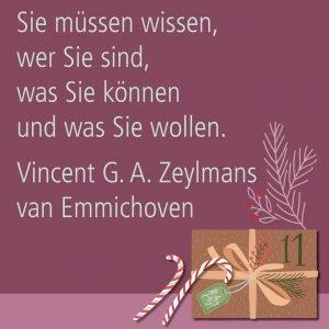 Metropolitan Adventskalender Tür elf: Spruch von Autor Vincent G. A. Zeylmans van Emmichoven