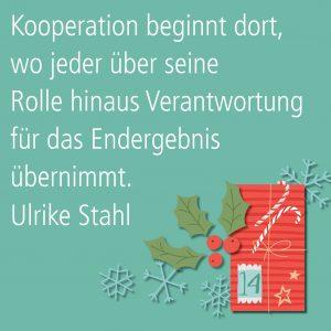 Metropolitan Adventskalender Tür vierzehn: Spruch von Autorin Ulrike Stahl