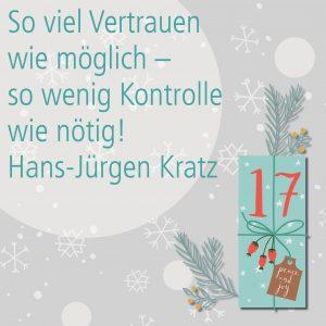 Metropolitan Adventskalender Tür siebzehn: Spruch von Autor Hans-Jürgen Kratz