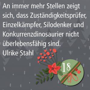 Metropolitan Adventskalender Tür achtzehn: Spruch von Autor Ulrike Stahl