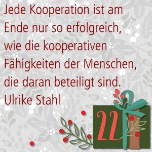 Metropolitan Adventskalender Tür zweiundzwanzig: Spruch von Autorin Ulrike Stahl