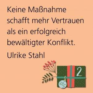 Metropolitan Adventskalender Tür zwei: Spruch von Autorin Ulrike Stahl