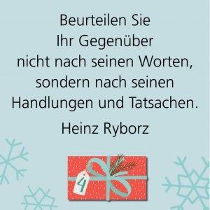 Metropolitan Adventskalender Tür vier: Spruch von Autor Heinz Ryborz