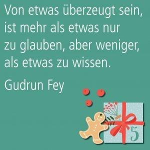 Metropolitan Adventskalender Tür fünf: Spruch von Autorin Gudrun Fey