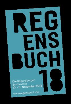 Ein blauer Flyer der die Buchmesse in Regensburg ankündigt