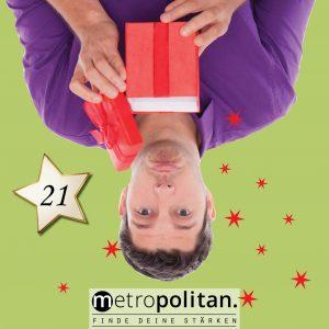 Adventskalender Nummer 21 Geschenkbox daneben Kosmetikset