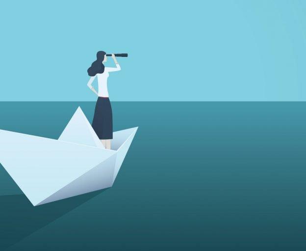 Symbolgrafik für Erfolg im Job: Frau blickt in die Ferne