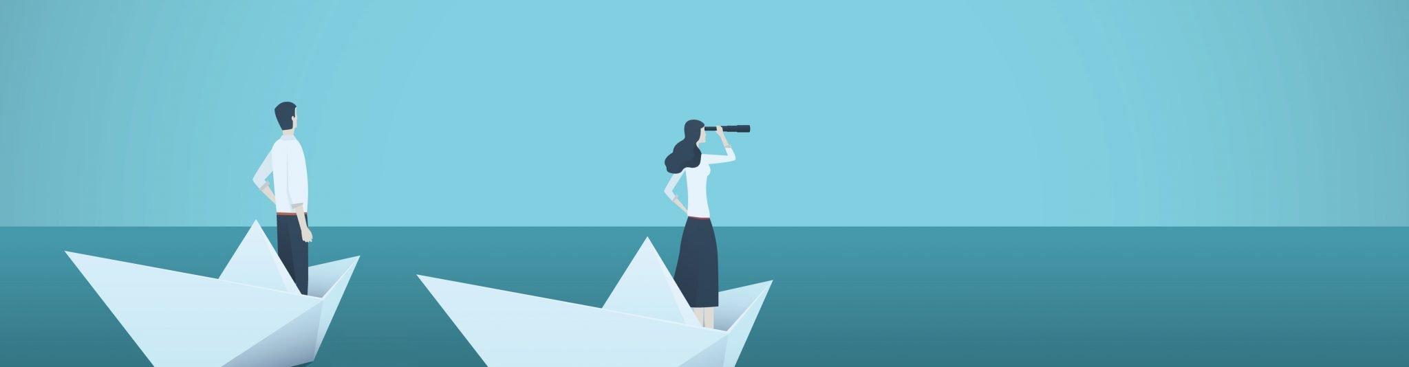 Symbolgrafik für Erfolg im Job: Frau und Mann blicken in die Ferne