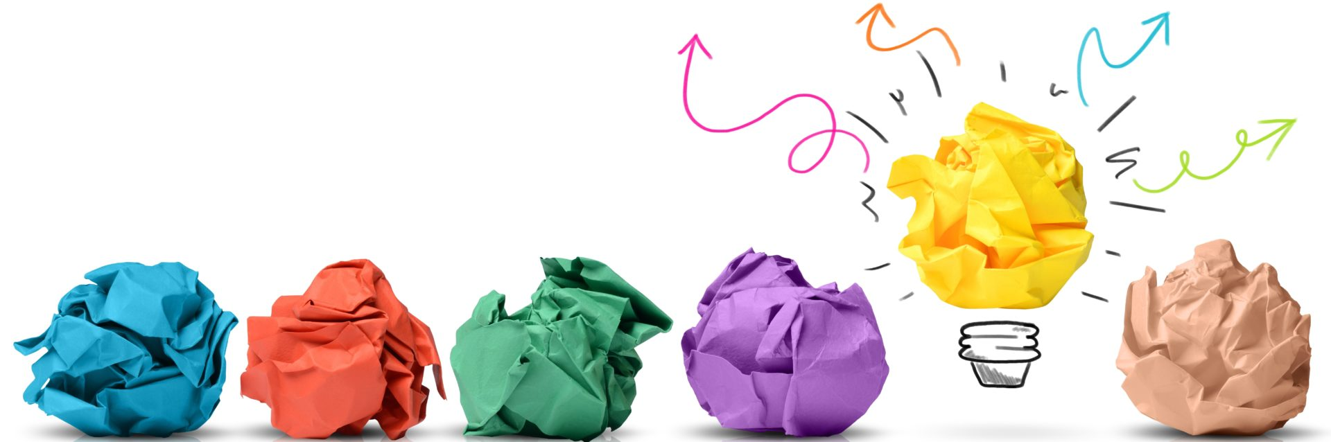 Zerknülltes buntes Papier Schaffe Zeit für deine Geschäftsidee