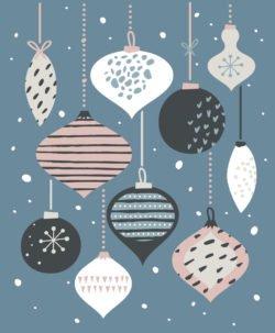 Weihnachtsbild mit Kugeln und Zapfen