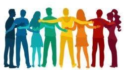Bunte Menschen halten sich in den Armen Mit Charisma Menschen bewegen