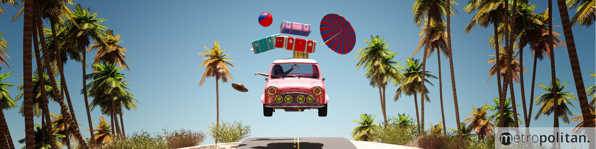 Auto im Urlaub Palmen Sommerlektüre Aktion metropolitan